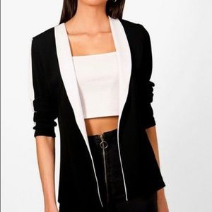 Boohoo Black and White Contrast Blazer